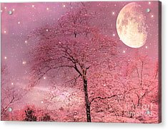 Dreamy Surreal Pink Fantasy Fairytale Trees Moon And Stars Acrylic Print by Kathy Fornal