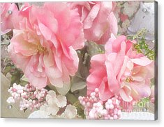Dreamy Vintage Cottage Shabby Chic Pink Roses - Romantic Roses Acrylic Print by Kathy Fornal