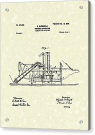 Dredging Apparatus 1899 Patent Art Acrylic Print by Prior Art Design