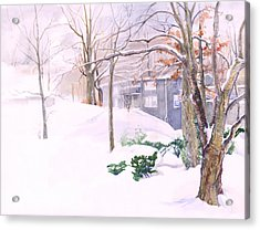 Acrylic Print featuring the painting Dressed In Winter White by Nancy Watson