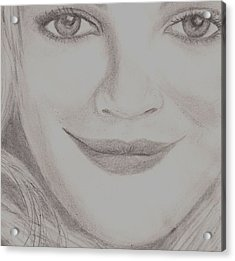 Acrylic Print featuring the drawing Drew Barrymore by Christy Saunders Church
