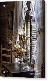 Dried Flowers And Oil Lamp Still Life Acrylic Print by Lynn Palmer
