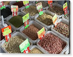 Dried Legumes For Sale At A Market Acrylic Print by William Sutton