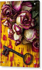 Dried Pink Roses And Key Acrylic Print by Garry Gay