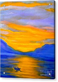 Drifting At Sunset Acrylic Print by Nancy Rucker