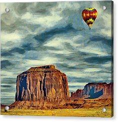 Acrylic Print featuring the painting Drifting Over Monument Valley by Jeff Kolker