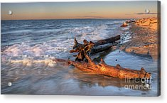 Driftwood On Lake Superior Acrylic Print by Twenty Two North Photography