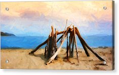 Driftwood Sculpture At Rincon Acrylic Print by Ron Regalado