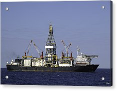Drill Ship In Blue Ocean Acrylic Print