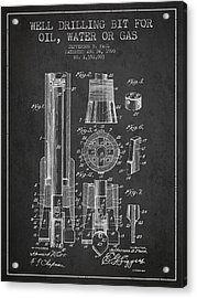 Drilling Bit For Oil Water Gas Patent From 1920 - Dark Acrylic Print by Aged Pixel
