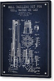 Drilling Bit For Oil Water Gas Patent From 1920 - Navy Blue Acrylic Print by Aged Pixel