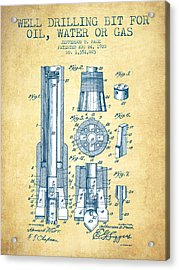 Drilling Bit For Oil Water Gas Patent From 1920 - Vintage Paper Acrylic Print by Aged Pixel