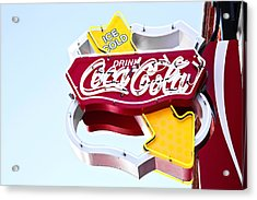 Acrylic Print featuring the photograph Drink Coca Cola Vintage Neon Sign by Gigi Ebert
