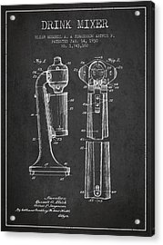 Drink Mixer Patent From 1930 - Dark Acrylic Print by Aged Pixel
