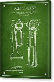 Drink Mixer Patent From 1930 - Green Acrylic Print by Aged Pixel