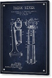 Drink Mixer Patent From 1930 - Navy Blue Acrylic Print by Aged Pixel