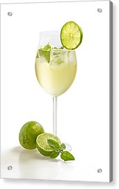 Drink With Lime And Mint In A Wine Glass Acrylic Print by Palatia Photo