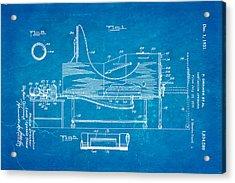 Drinker Iron Lung Patent Art 1931 Blueprint Acrylic Print by Ian Monk