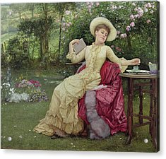 Drinking Coffee And Reading In The Garden Acrylic Print by Edward Killingworth Johnson
