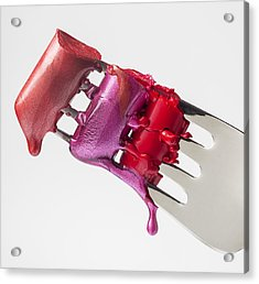 Dripping Lipstick Acrylic Print by Garry Gay