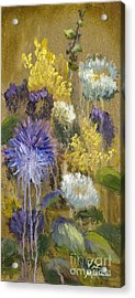 Drippy Bouquet With Gold Leaf By Vic Mastis Acrylic Print by Vic  Mastis