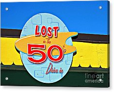 Drive-in Diner Sign Acrylic Print by Ethna Gillespie