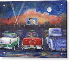 Drive-in Movie Theater Acrylic Print by Linda Mears