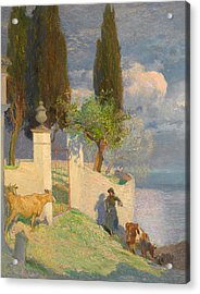 Driving Cattle Lake Como Acrylic Print by Joseph Walter West