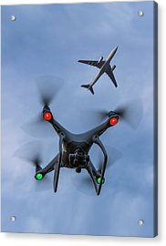 Drone And Airliner Acrylic Print