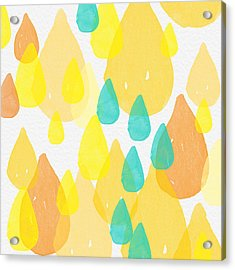 Drops Of Sunshine- Abstract Painting Acrylic Print by Linda Woods