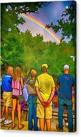Drum Circle Rainbow Acrylic Print by John Haldane