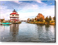 Drum Poiint Lighthouse Oil Painting Acrylic Print