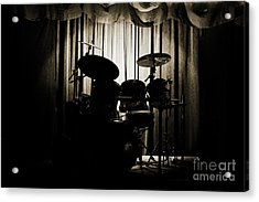 Drum Set On Stage Photograph Combo Jazz Sepia 3234.01 Acrylic Print