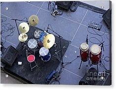 Drums Percussion And Monitors On Stage Acrylic Print by Sami Sarkis