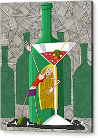 Drunk Young Woman In Party With Martini Glass Acrylic Print