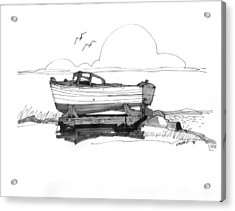 Acrylic Print featuring the drawing Dry Dock In Ocracoke Nc 1970s by Richard Wambach