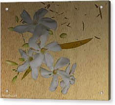 Acrylic Print featuring the digital art Dry Leaves And Fowers by Asok Mukhopadhyay