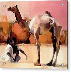 Dsu And Said, Rann Of Kutch, 1996 Oil On Canvas Acrylic Print