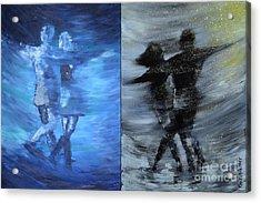 Dual Dancing In The Rain Acrylic Print by Roni Ruth Palmer