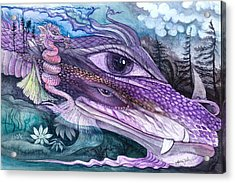 Dual Dragons Acrylic Print by Adria Trail