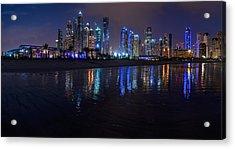 Dubai - Marina Skyline Panorama At Night Acrylic Print by Jean Claude Castor