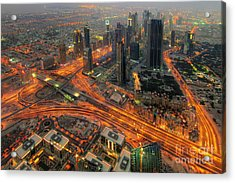 Dubai Areal View At Night Acrylic Print by Lars Ruecker