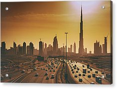 Dubai Cityscape With Skyscrapers And Acrylic Print by Serts