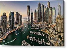 Dubai Marina In The Evening Acrylic Print by © Naufal Mq