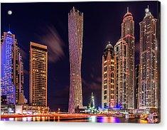 Dubai Marina Night Shot Acrylic Print by Vinaya Mohan