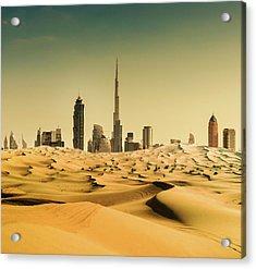 Dubai Skyline From The Desert Acrylic Print by Franckreporter