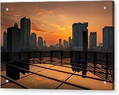 Dubai Skyline Sunrise Acrylic Print