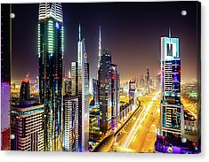 Dubai Skyscrapers, United Arab Emirates Acrylic Print by Mbbirdy