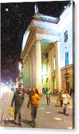 Dublin Ireland Post Office At Night Acrylic Print by Mark E Tisdale