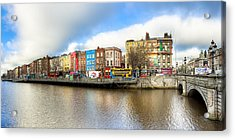 Acrylic Print featuring the photograph Dublin River Liffey Panorama by Mark E Tisdale